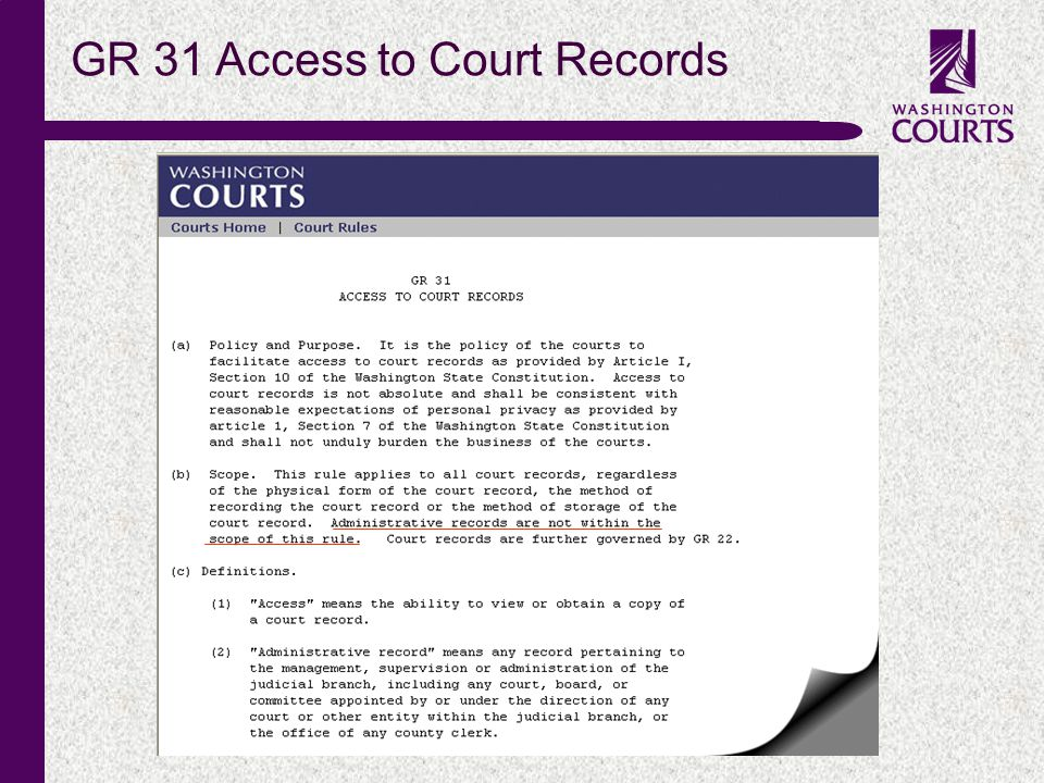 c GR 31 Access to Court Records