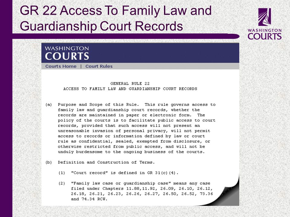 c GR 22 Access To Family Law and Guardianship Court Records