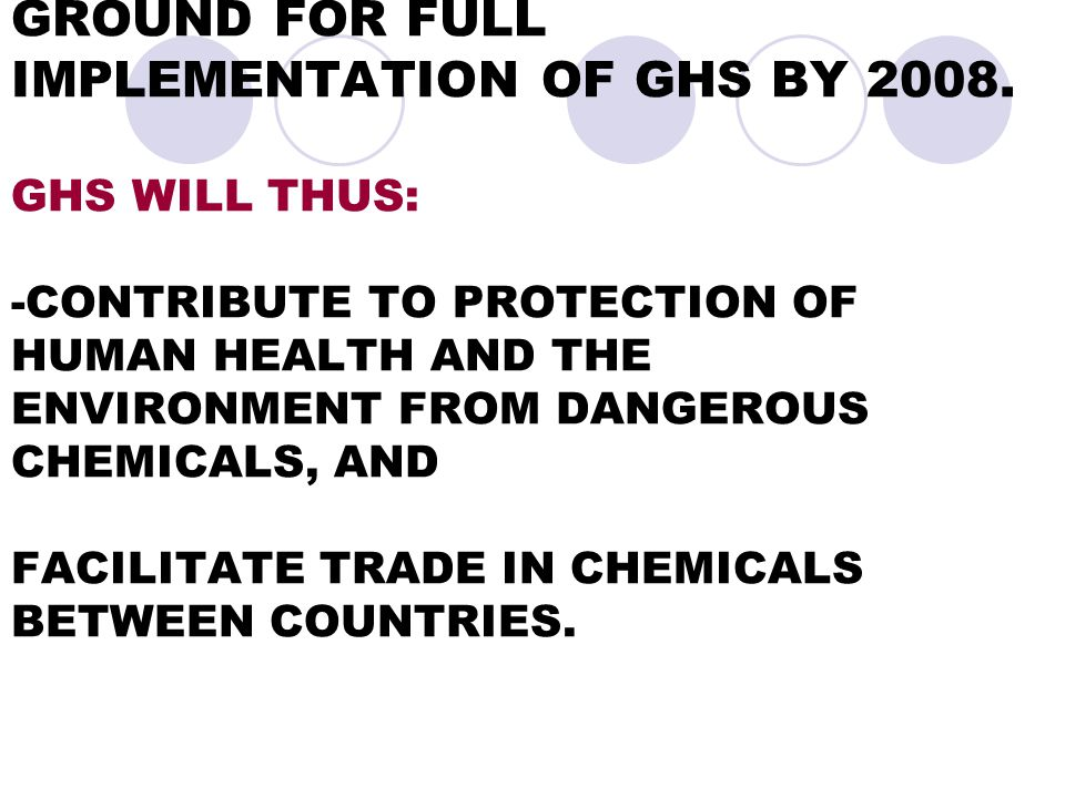- WITHIN THE FRAMEWORK OF MOA THE GAMBIA WILL PREPARE GROUND FOR FULL IMPLEMENTATION OF GHS BY 2008.
