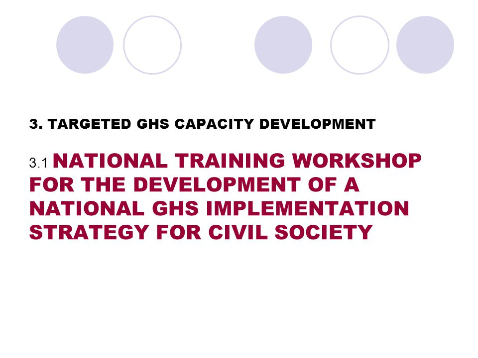 3.Project Phase 2:Targeted GHS Capacity Development 3.