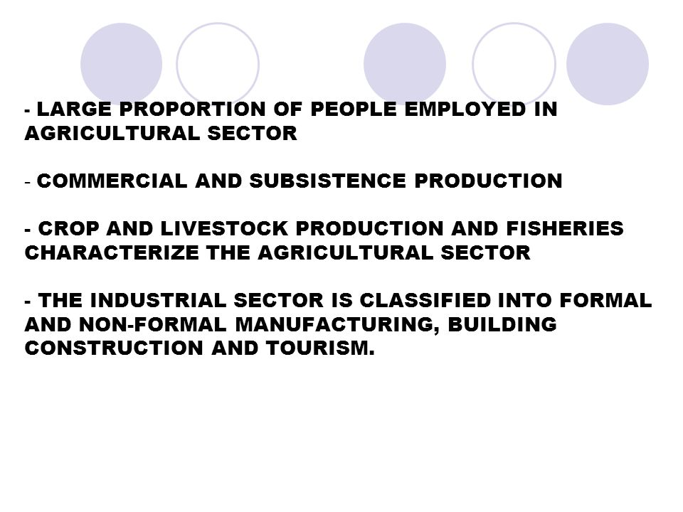 - LARGE PROPORTION OF PEOPLE EMPLOYED IN AGRICULTURAL SECTOR - COMMERCIAL AND SUBSISTENCE PRODUCTION - CROP AND LIVESTOCK PRODUCTION AND FISHERIES CHARACTERIZE THE AGRICULTURAL SECTOR - THE INDUSTRIAL SECTOR IS CLASSIFIED INTO FORMAL AND NON-FORMAL MANUFACTURING, BUILDING CONSTRUCTION AND TOURISM.