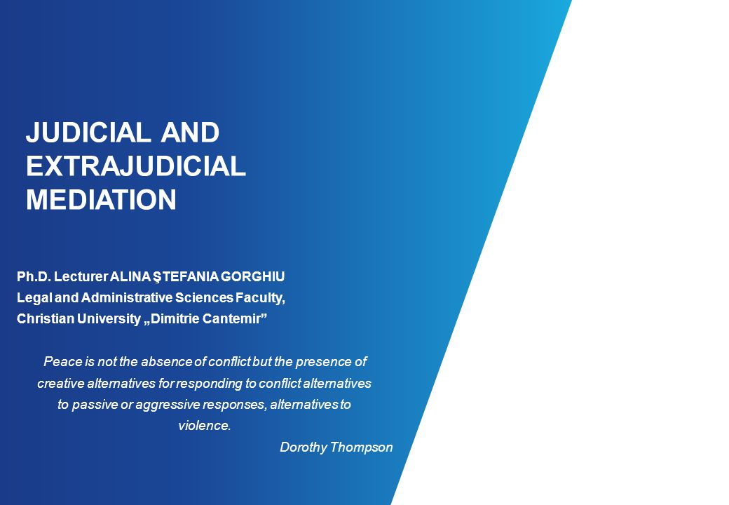 JUDICIAL AND EXTRAJUDICIAL MEDIATION Ph.D.