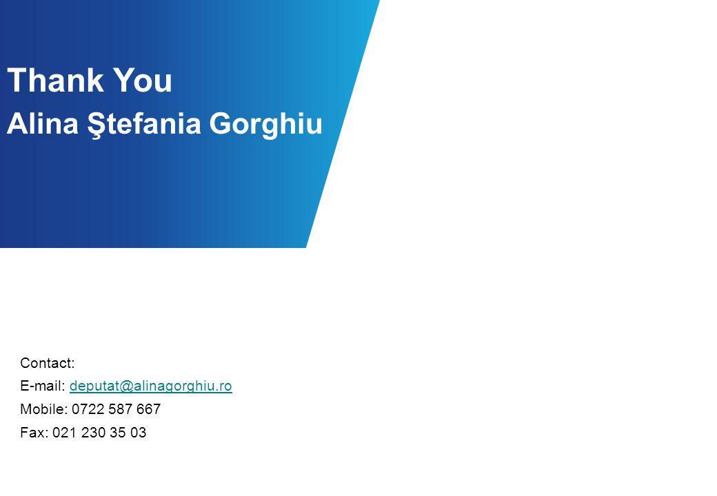 Contact: E-mail: deputat@alinagorghiu.rodeputat@alinagorghiu.ro Mobile: 0722 587 667 Fax: 021 230 35 03 Thank You Alina Ştefania Gorghiu