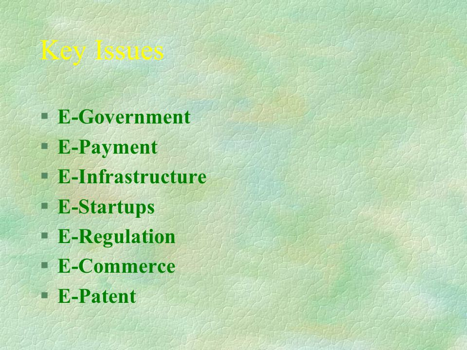 Key Issues §E-Government §E-Payment §E-Infrastructure §E-Startups §E-Regulation §E-Commerce §E-Patent