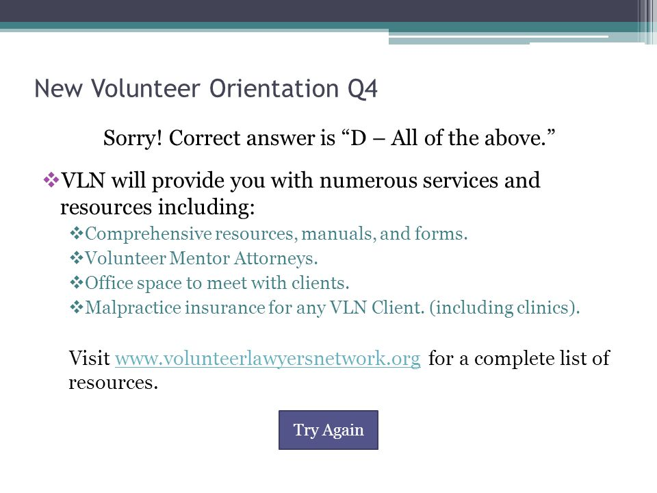 New Volunteer Orientation Q4 Sorry.