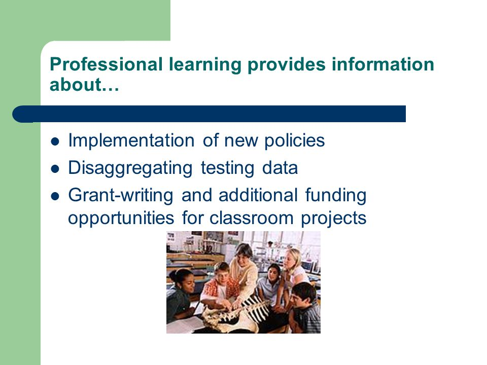 Professional learning provides information about… Implementation of new policies Disaggregating testing data Grant-writing and additional funding opportunities for classroom projects