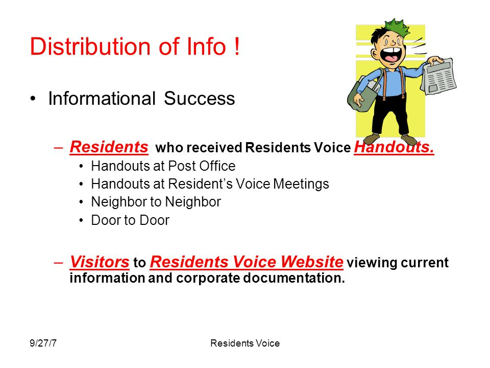 9/27/7Residents Voice Distribution of Info .