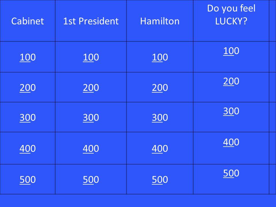 Cabinet1st PresidentHamilton Do you feel LUCKY? 101001010010100 10100 202002020020200 20200 303003030030300 30300 404004040040400 40400 50500505005050