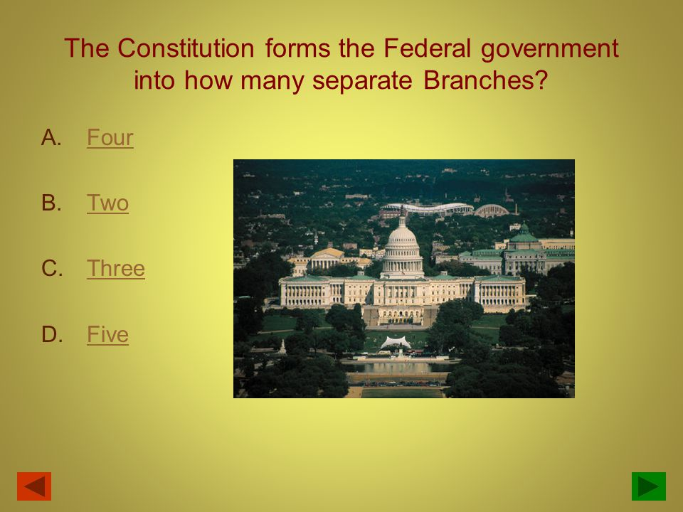 The U.S. Constitution was ratified and went into effect in what year? A. 1787 B. 1775 C. 1776 D. 1789