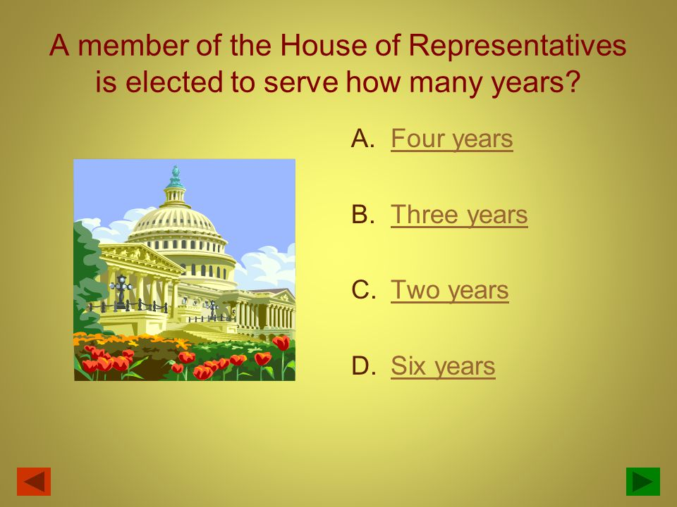 The elected term for a U.S. Senator is for how many years? Six years Two years Eight years Four years