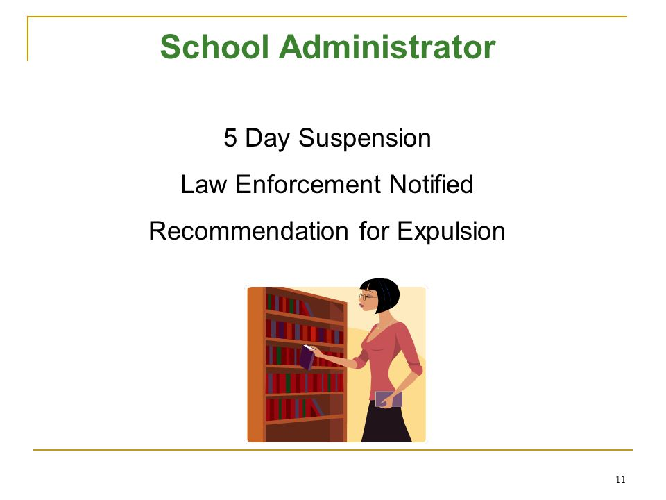 11 School Administrator 5 Day Suspension Law Enforcement Notified Recommendation for Expulsion