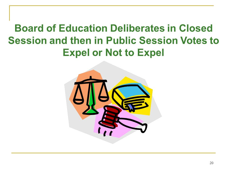 20 Board of Education Deliberates in Closed Session and then in Public Session Votes to Expel or Not to Expel