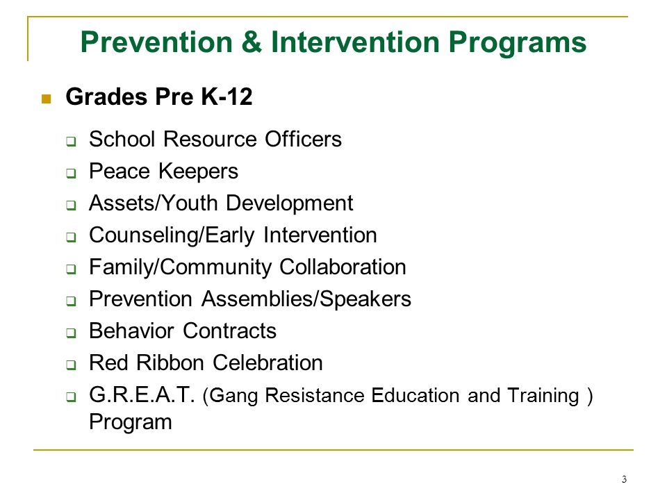 3 Prevention & Intervention Programs Grades Pre K-12  School Resource Officers  Peace Keepers  Assets/Youth Development  Counseling/Early Interven
