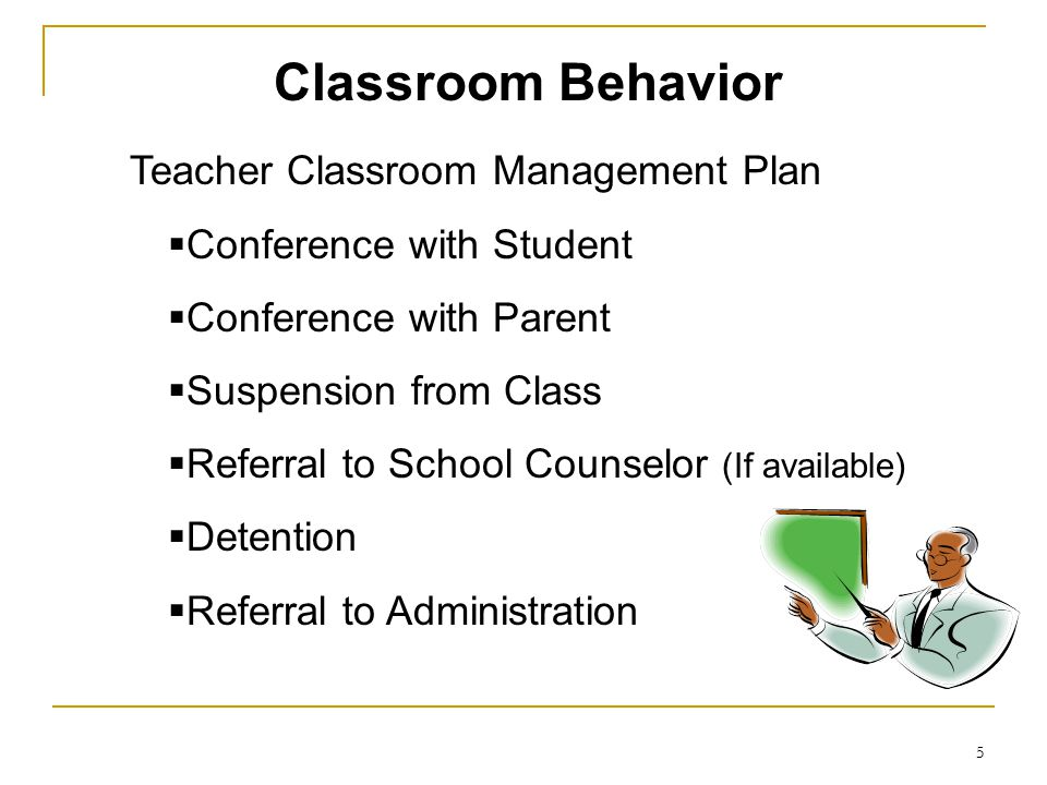 5 Teacher Classroom Management Plan  Conference with Student  Conference with Parent  Suspension from Class  Referral to School Counselor (If avai