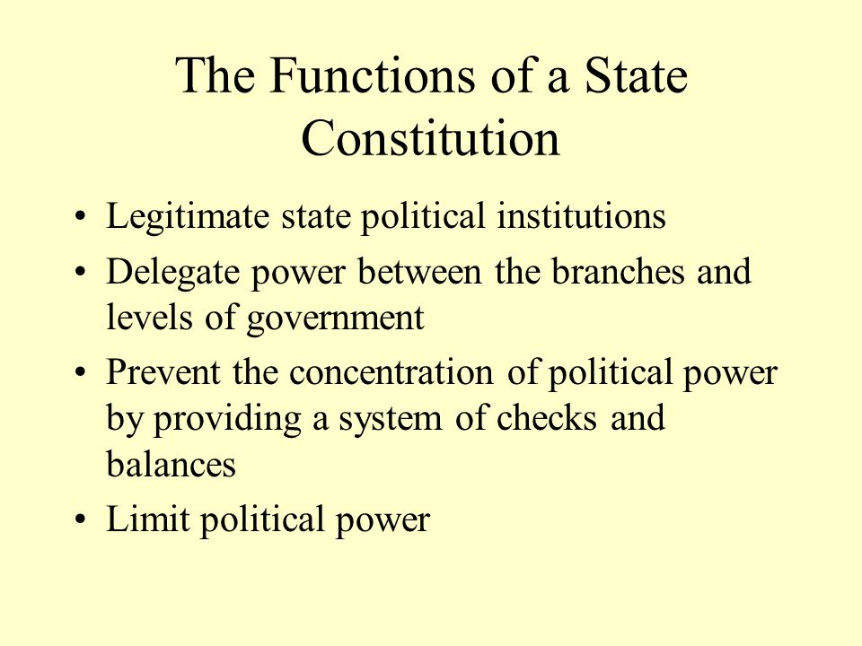 Similarities Between Constitutions Power is reserved to the people Political power divided into three branches Checks and balances Federalism