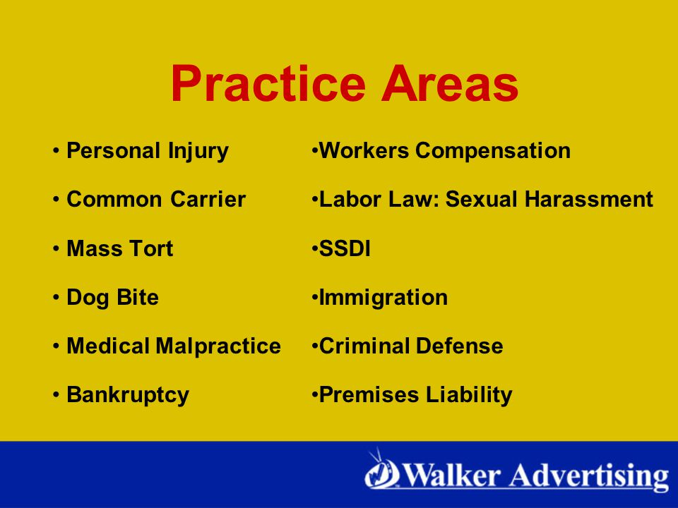 Practice Areas Personal Injury Common Carrier Mass Tort Dog Bite Medical Malpractice Bankruptcy Workers Compensation Labor Law: Sexual Harassment SSDI Immigration Criminal Defense Premises Liability