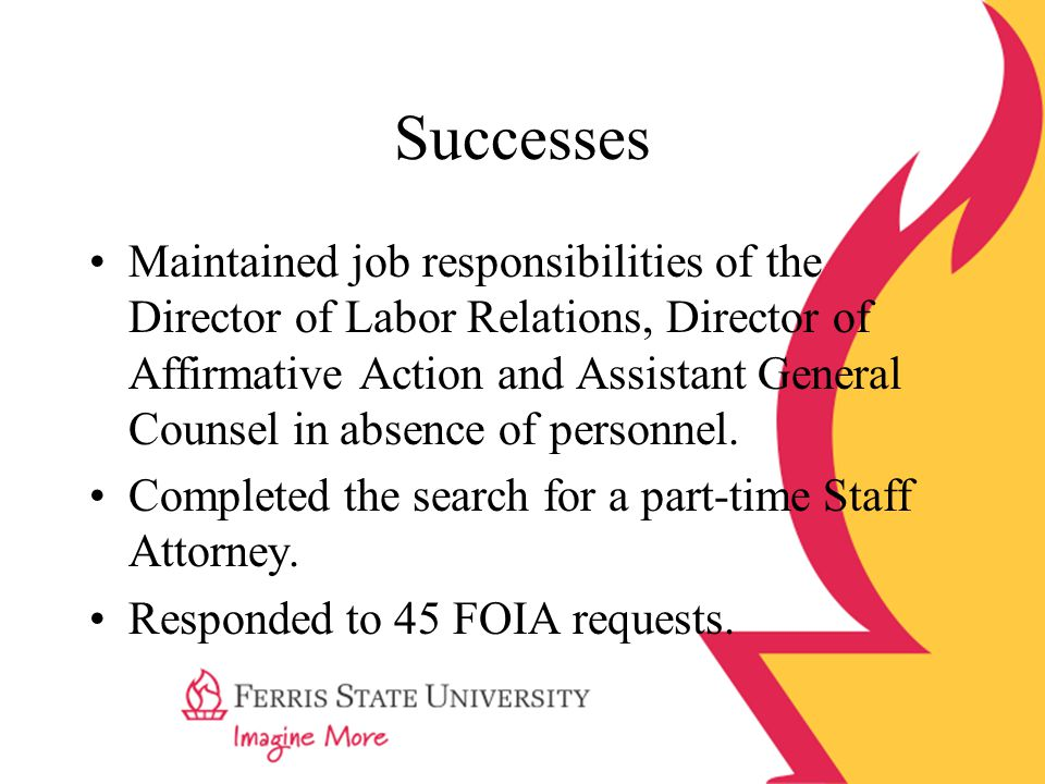 Successes Maintained job responsibilities of the Director of Labor Relations, Director of Affirmative Action and Assistant General Counsel in absence
