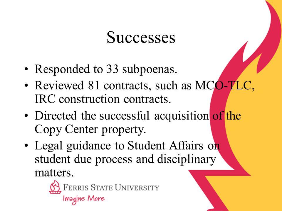Successes Responded to 33 subpoenas.