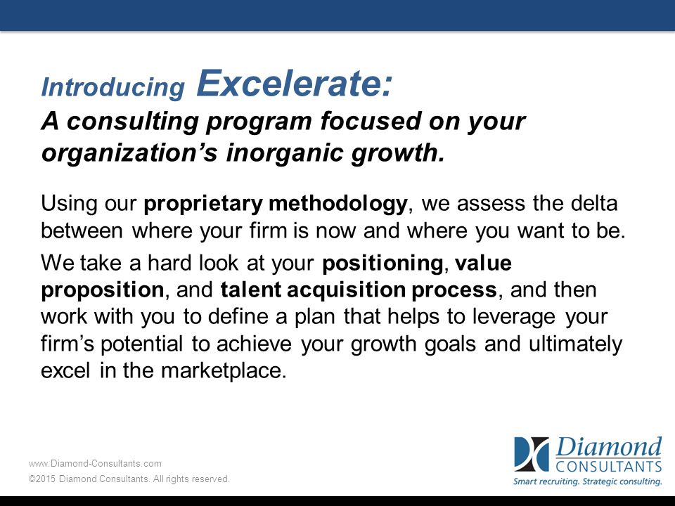 Introducing Excelerate: A consulting program focused on your organization's inorganic growth.