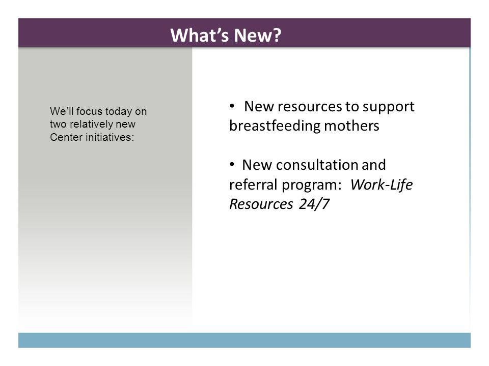 Lactation Support at MIT MIT was again recognized by the Massachusetts Breastfeeding Coalition in 2010 as a Breastfeeding-Friendly Employer for improving the health of the Commonwealth through excellence in supporting breastfeeding mothers and babies. Resources Ten (10) lactation rooms across campus, and several more in planning stages New guidelines for nursing mothers and their supervisors: private space and adequate break time will be made available for pumping New website offering information, tips, and resources within and outside MIT