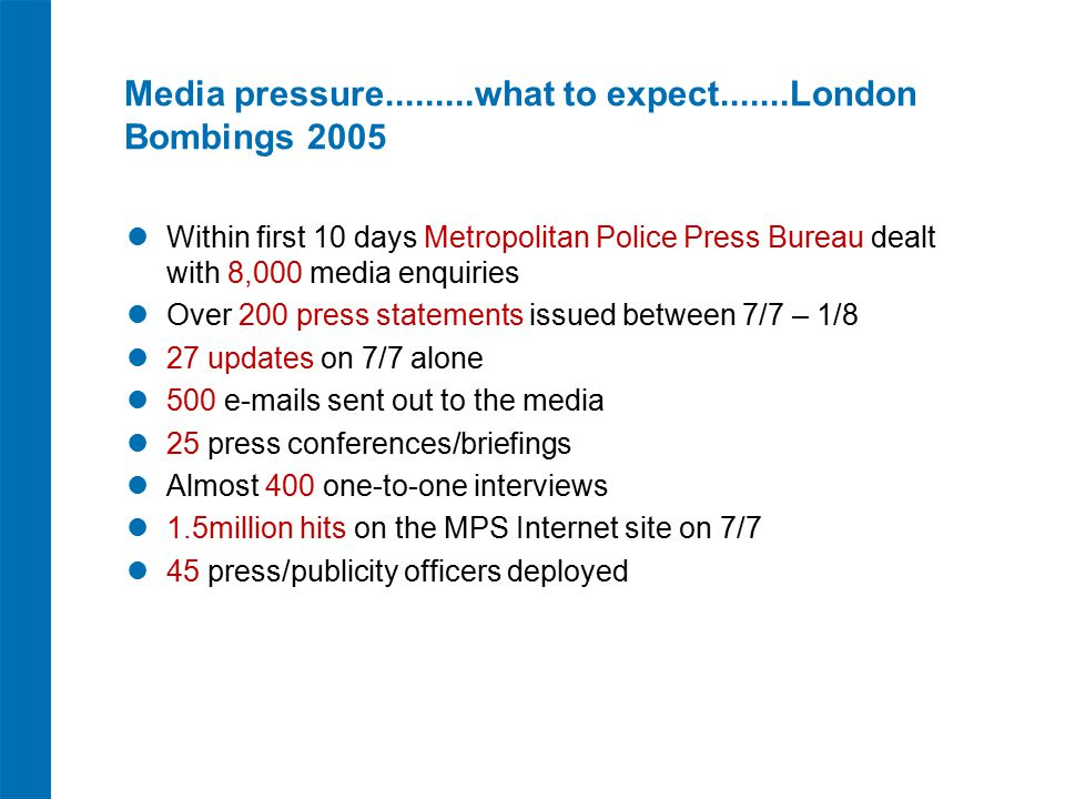 Media pressure.........what to expect.......London Bombings 2005 Within first 10 days Metropolitan Police Press Bureau dealt with 8,000 media enquiries Over 200 press statements issued between 7/7 – 1/8 27 updates on 7/7 alone 500 e-mails sent out to the media 25 press conferences/briefings Almost 400 one-to-one interviews 1.5million hits on the MPS Internet site on 7/7 45 press/publicity officers deployed