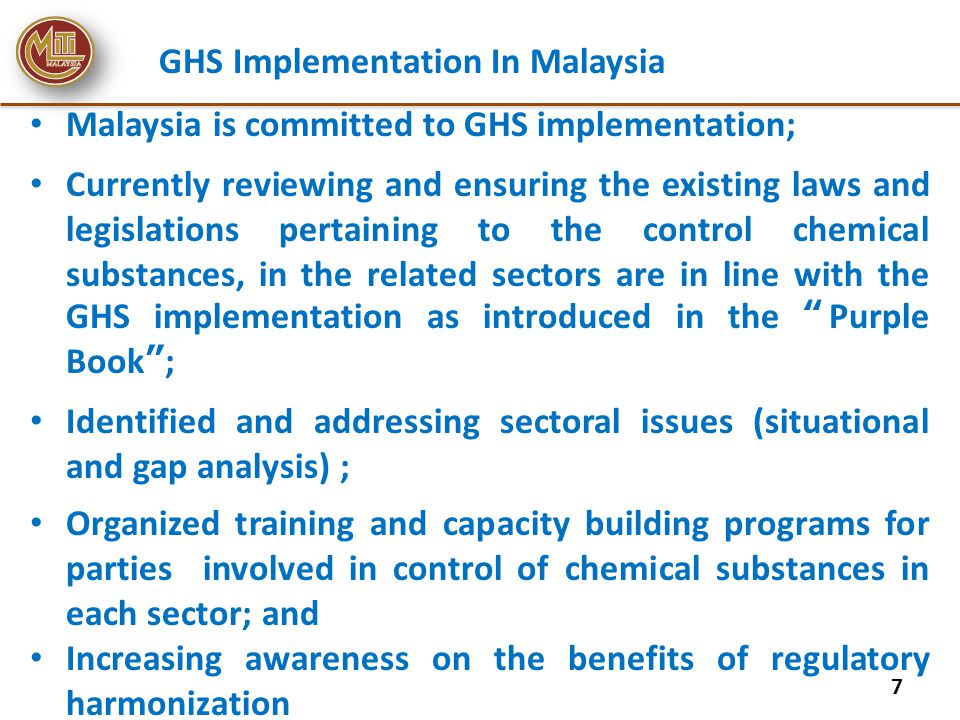 Consumer sector Consumer Protection Act 1999 Different and inadequate labelling of consumer products GHS for consumer Label provides important source of information for consumers on the chemical hazards involved.