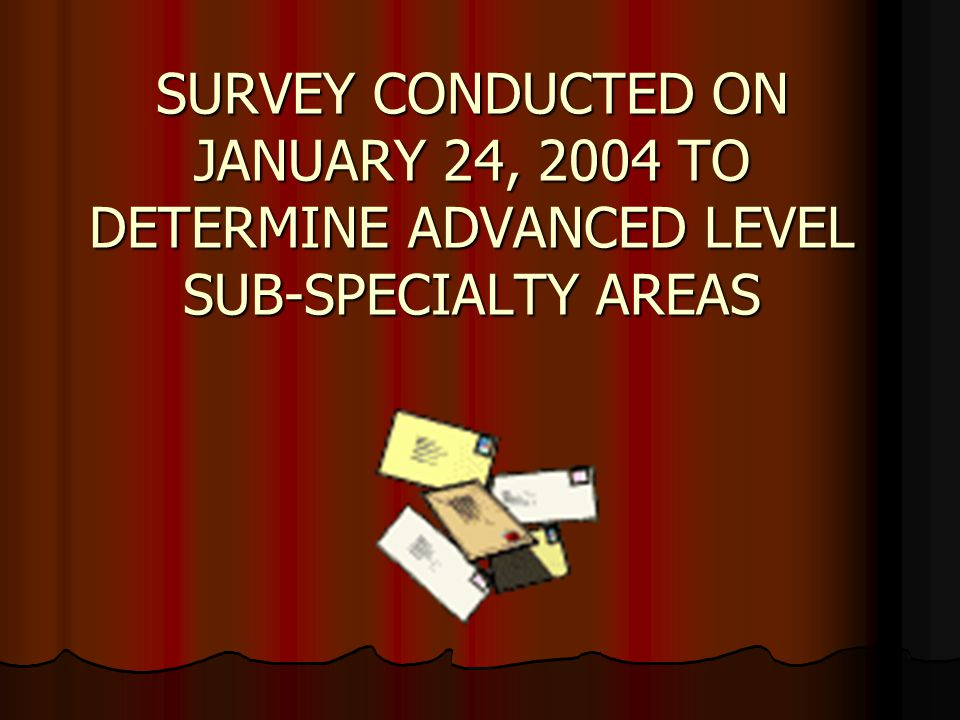 SURVEY CONDUCTED ON JANUARY 24, 2004 TO DETERMINE ADVANCED LEVEL SUB-SPECIALTY AREAS SURVEY CONDUCTED ON JANUARY 24, 2004 TO DETERMINE ADVANCED LEVEL SUB-SPECIALTY AREAS