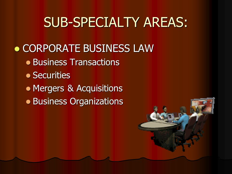 SUB-SPECIALTY AREAS: CORPORATE BUSINESS LAW CORPORATE BUSINESS LAW Business Transactions Business Transactions Securities Securities Mergers & Acquisitions Mergers & Acquisitions Business Organizations Business Organizations