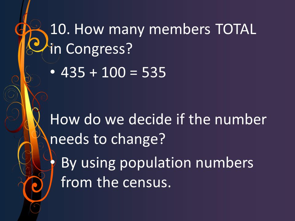 10. How many members TOTAL in Congress.