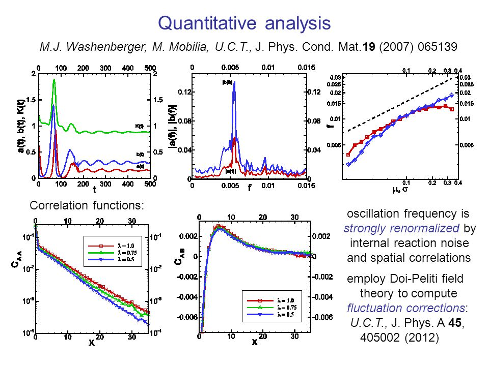 Quantitative analysis M.J. Washenberger, M. Mobilia, U.C.T., J. Phys. Cond. Mat.19 (2007) 065139 Correlation functions: oscillation frequency is stron