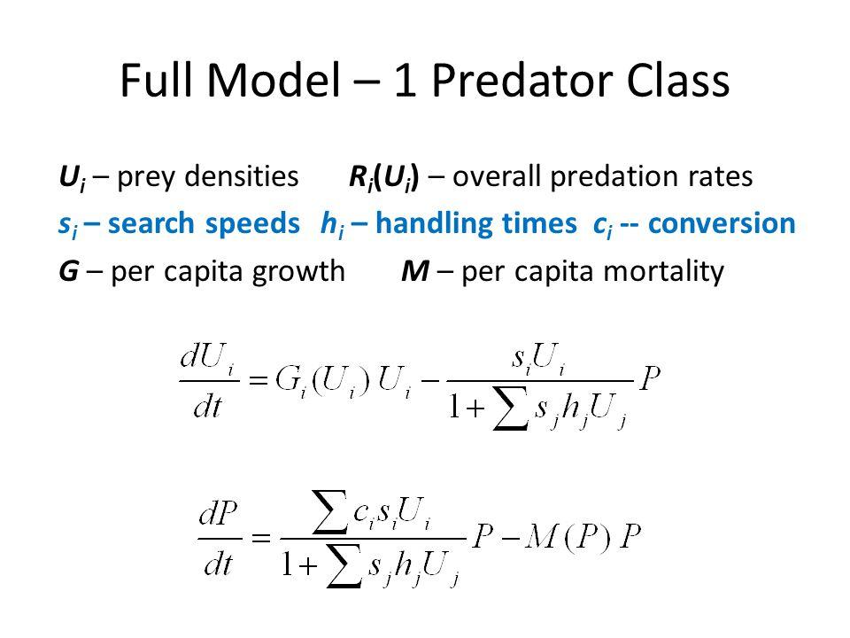 Full Model – 1 Predator Class U i – prey densities R i (U i ) – overall predation rates s i – search speeds h i – handling times c i -- conversion G –