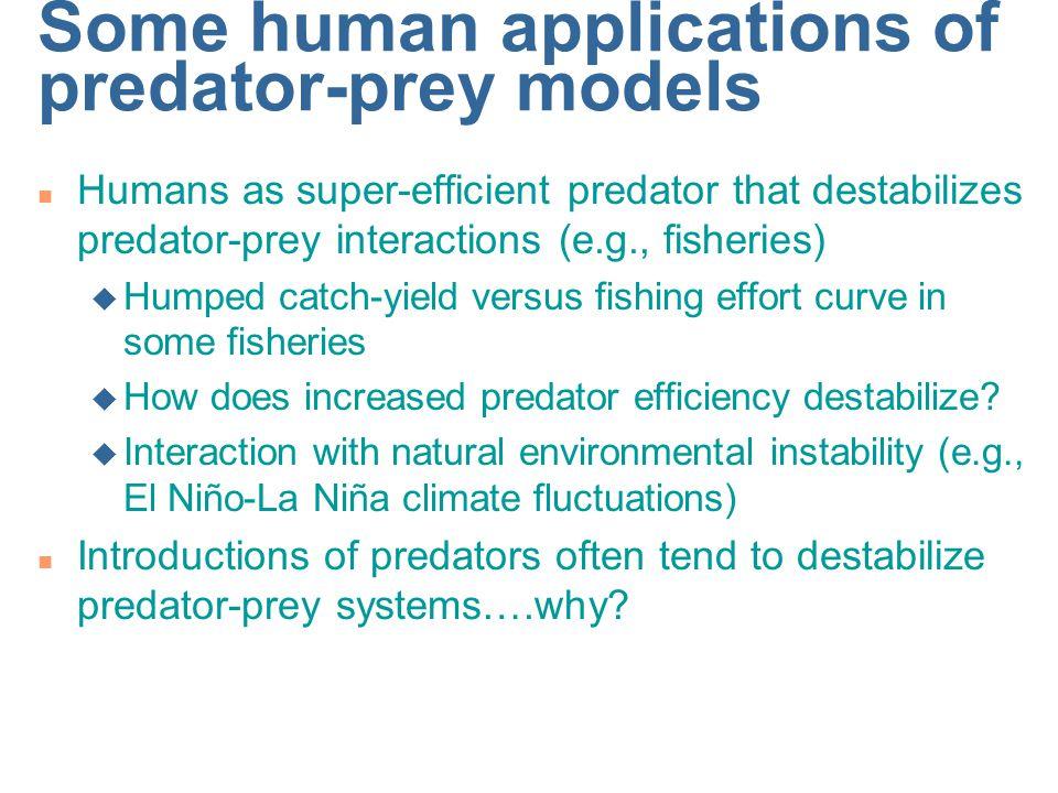 Some human applications of predator-prey models n Humans as super-efficient predator that destabilizes predator-prey interactions (e.g., fisheries) u