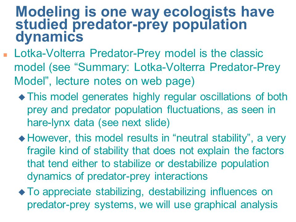 Predator-prey population fluctuations (neutral stability) in Lotka-Volterra model