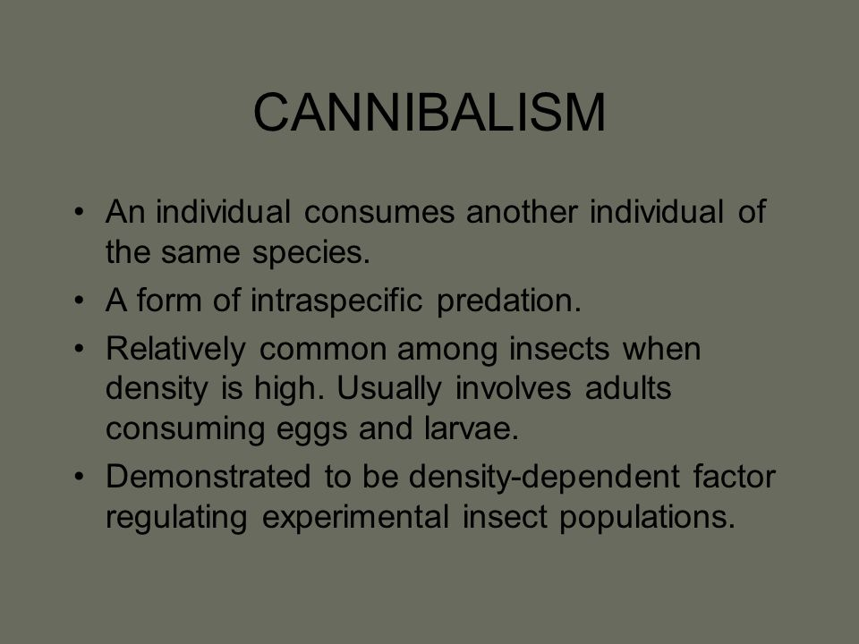 CANNIBALISM An individual consumes another individual of the same species.