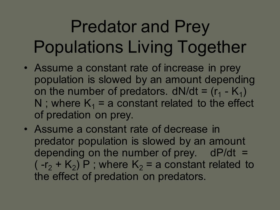 Predator and Prey Populations Living Together Assume a constant rate of increase in prey population is slowed by an amount depending on the number of predators.