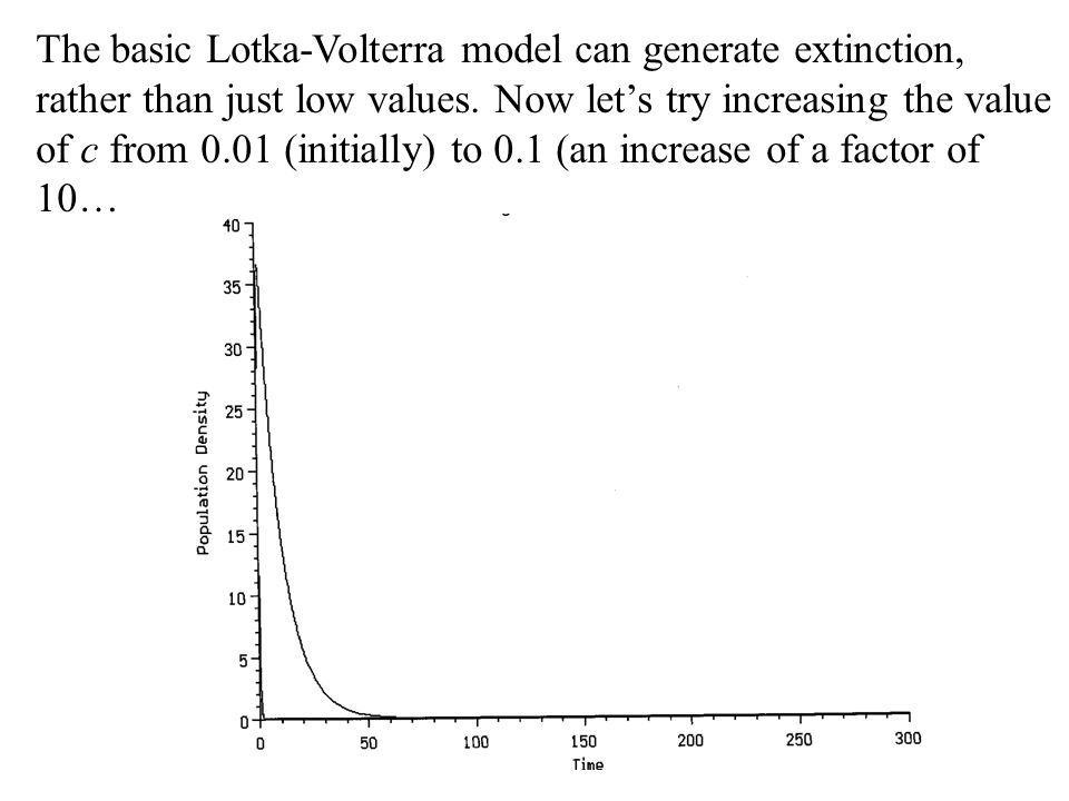 The basic Lotka-Volterra model can generate extinction, rather than just low values. Now let's try increasing the value of c from 0.01 (initially) to