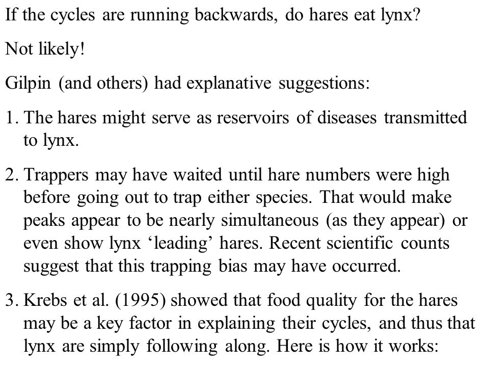 If the cycles are running backwards, do hares eat lynx? Not likely! Gilpin (and others) had explanative suggestions: 1.The hares might serve as reserv