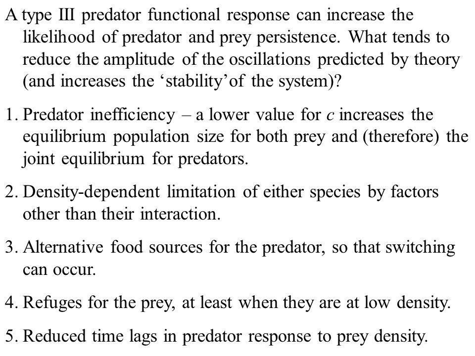A type III predator functional response can increase the likelihood of predator and prey persistence.