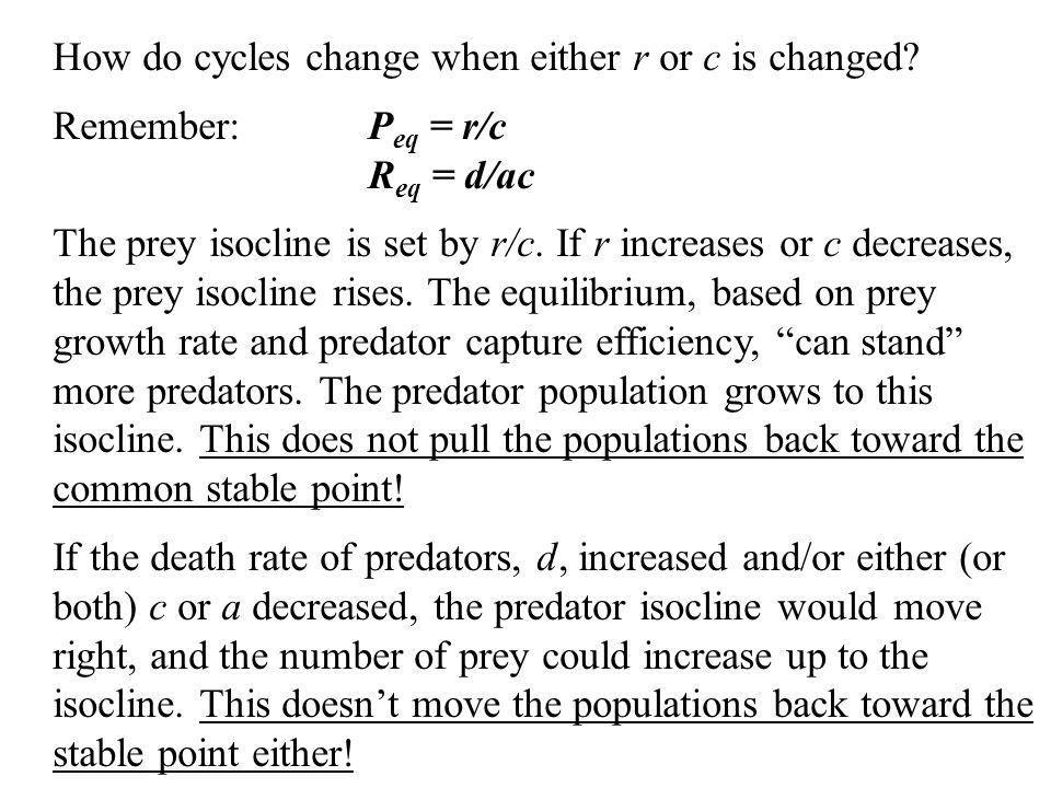 How do cycles change when either r or c is changed.