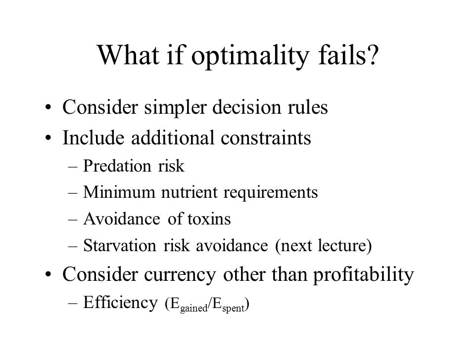 What if optimality fails.