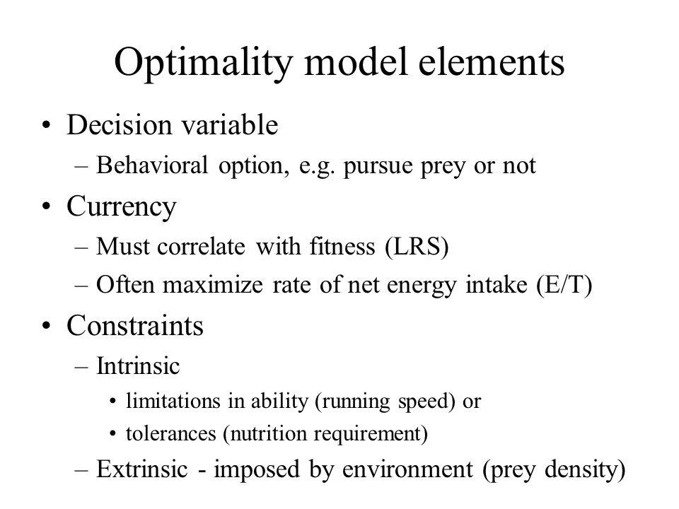 Constraints: prey choice vs predation