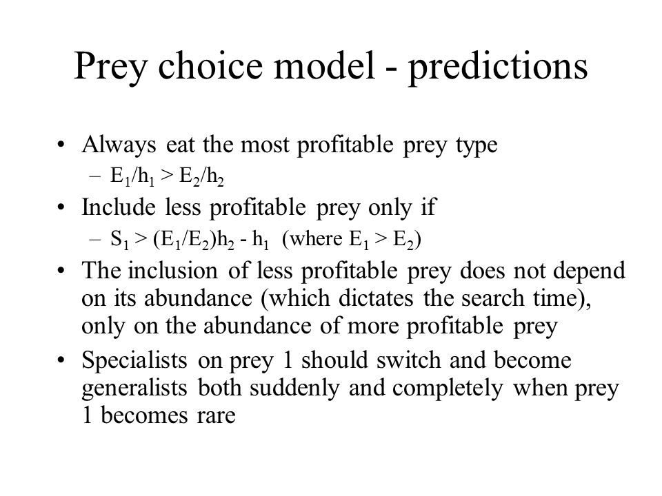Shore crabs feeding on mussels Profitability Prey size distribution in diet Most profitable prey are taken most often