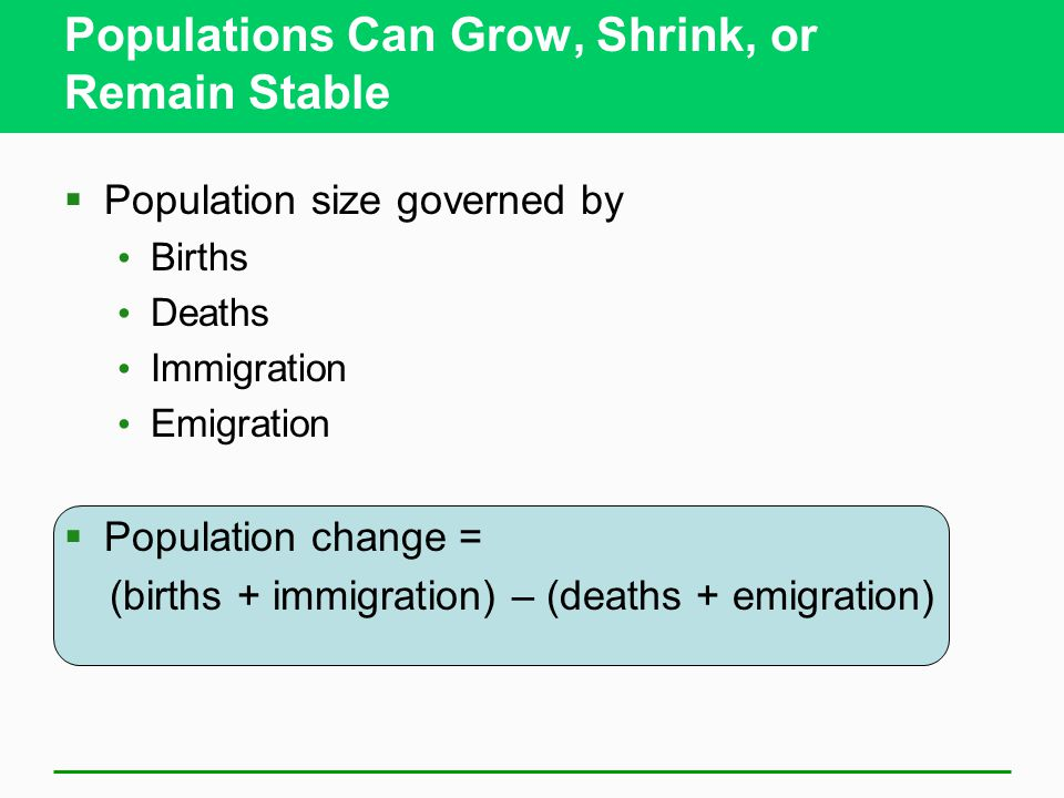 Populations Can Grow, Shrink, or Remain Stable  Population size governed by Births Deaths Immigration Emigration  Population change = (births + immigration) – (deaths + emigration)