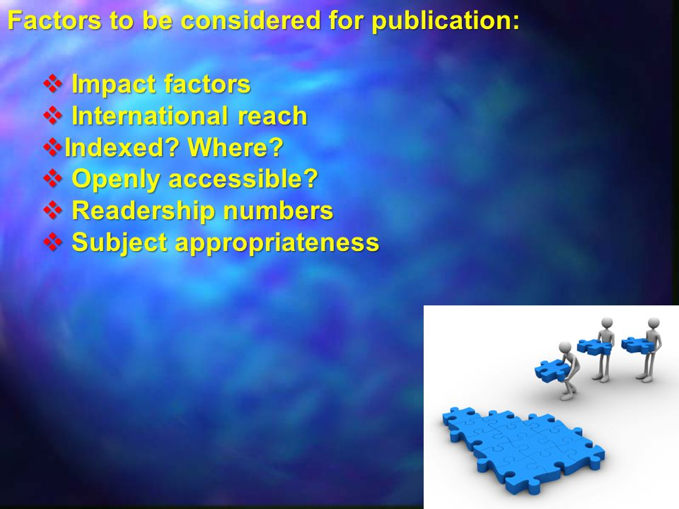 Factors to be considered for publication:  Impact factors  International reach  Indexed.