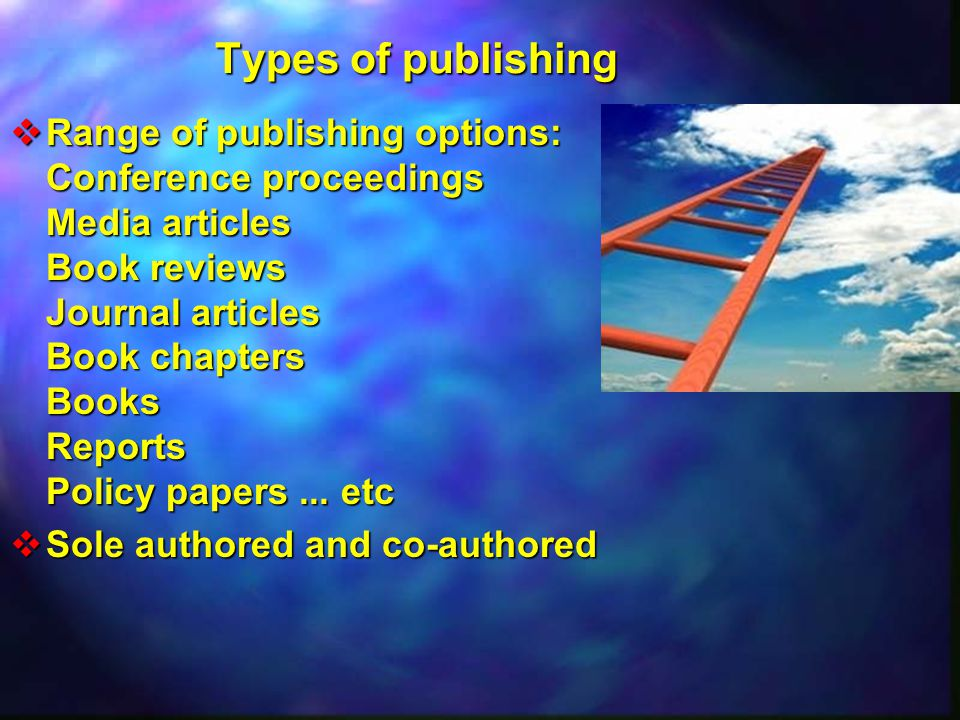 Types of publishing  Range of publishing options: Conference proceedings Media articles Book reviews Journal articles Book chapters Books Reports Policy papers...