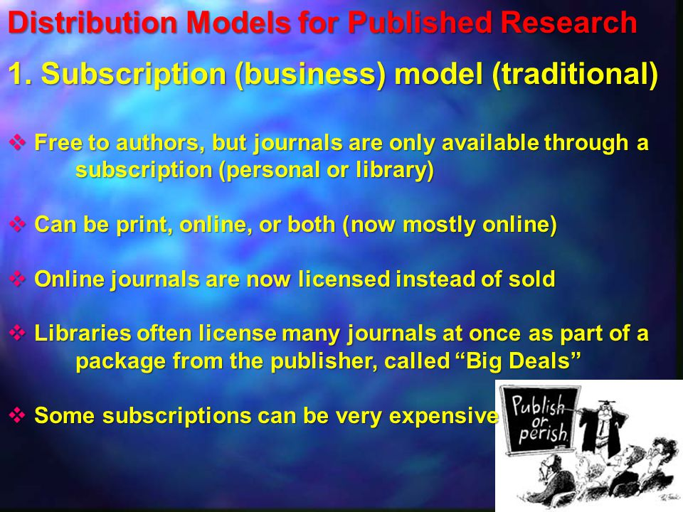 Distribution Models for Published Research 1.
