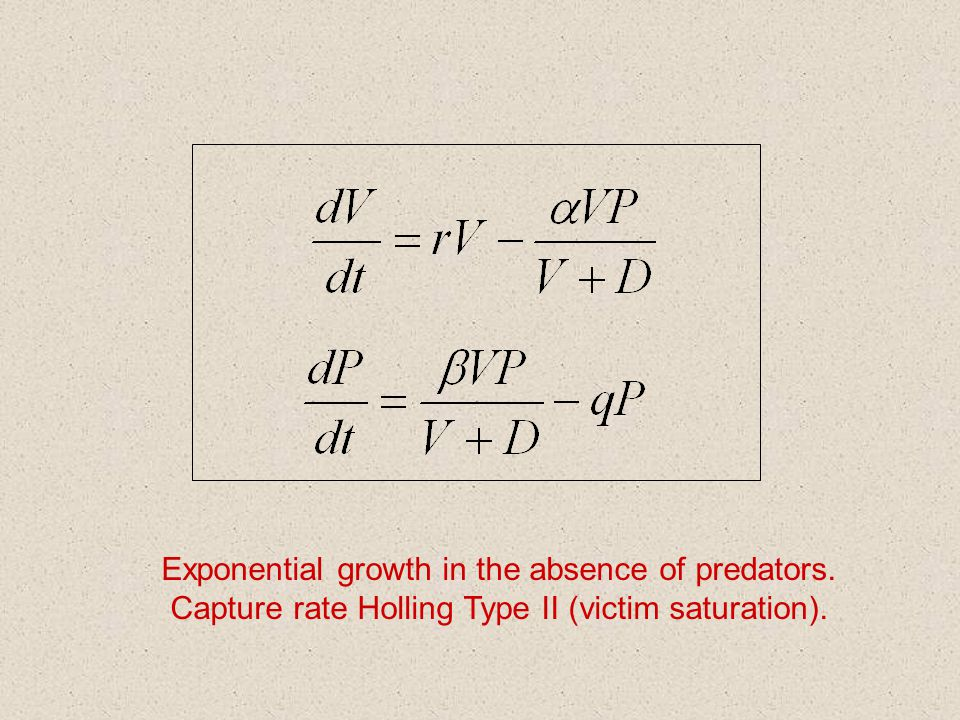 Exponential growth in the absence of predators. Capture rate Holling Type II (victim saturation).