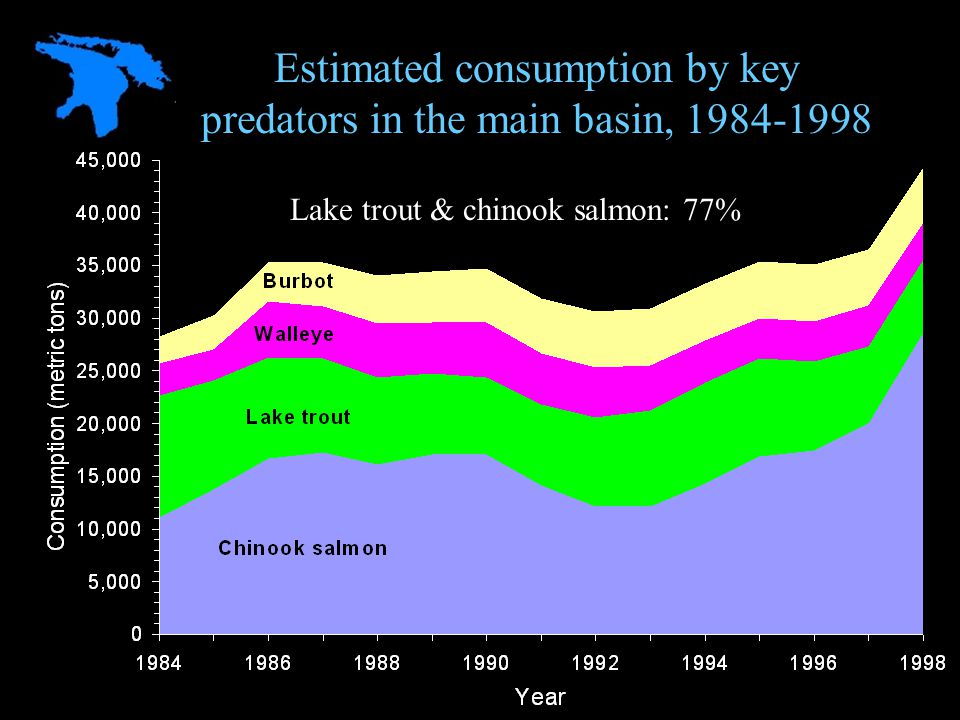 Lake trout & chinook salmon: 77% Estimated consumption by key predators in the main basin, 1984-1998