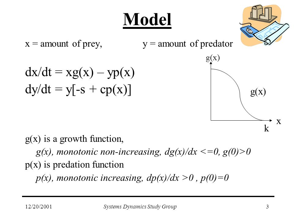 12/20/2001Systems Dynamics Study Group3 Model x = amount of prey,y = amount of predator dx/dt = xg(x) – yp(x) dy/dt = y[-s + cp(x)] g(x) is a growth function, g(x), monotonic non-increasing, dg(x)/dx 0 p(x) is predation function p(x), monotonic increasing, dp(x)/dx >0, p(0)=0 g(x) x k