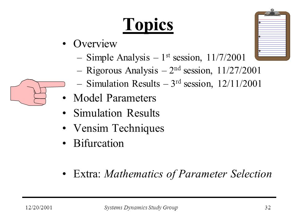 12/20/2001Systems Dynamics Study Group32 Topics Overview –Simple Analysis – 1 st session, 11/7/2001 –Rigorous Analysis – 2 nd session, 11/27/2001 –Simulation Results – 3 rd session, 12/11/2001 Model Parameters Simulation Results Vensim Techniques Bifurcation Extra: Mathematics of Parameter Selection